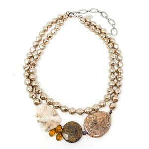 Chico's Pearl Stone Mixed Media Statement Necklace